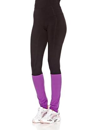 Naffta Pantalón Ajustado Active / Gym (Negro / Púrpura)