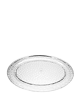 Pebbled Acrylic Oval Platter, Clear