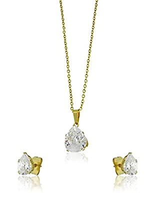 Shiny Cristal Set Halskette und Ohrringe vergoldetes Metall 24 kt