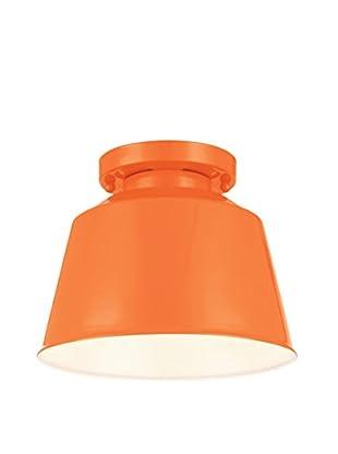Feiss 1-Light Semi Flush Mount, Hi Gloss Orange