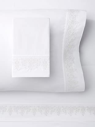 Melange Home 300 Thread Count Egyptian Cotton Percale Baby's Breath Embroidery Sheet Set