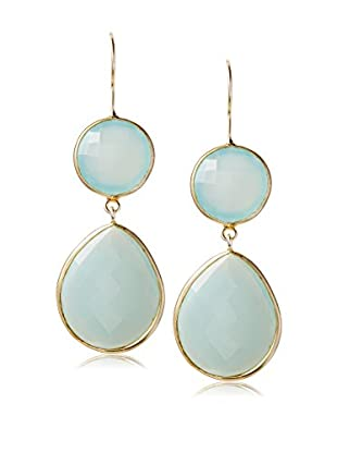 Liv Oliver 18K Gold Sea Green Double Drop Earrings
