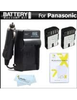 2 Pack Battery And Charger Kit For Panasonic Lumix DMC-GH3K, DMC-GH3, DMC-GH4, DMC-GH4K Mirrorless Micro Four Thirds Digital Camera Includes 2 Extended Replacement (2100Mah) DMW-BLF19E Batteries + Ac/Dc Rapid Travel Charger + Screen Protectors + More