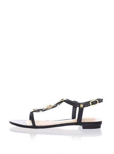 Kat Maconie Women's Lily Flat Triangular Accent Sandal (Black)