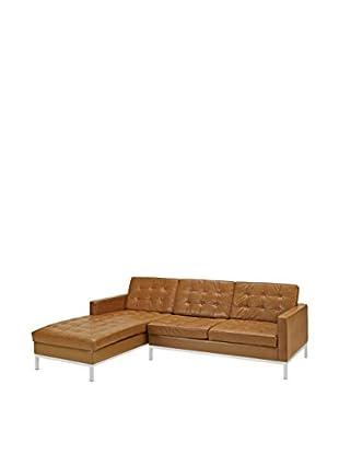 Modway Loft Left-Arm Leather Sectional Sofa (Tan)