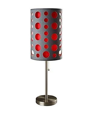 ORE International Modern Retro Table Lamp, Grey/Red