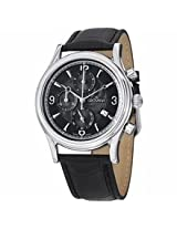 Grovana Chronograph Black Dial Black Leather Strap Mens Watch 1728.9537