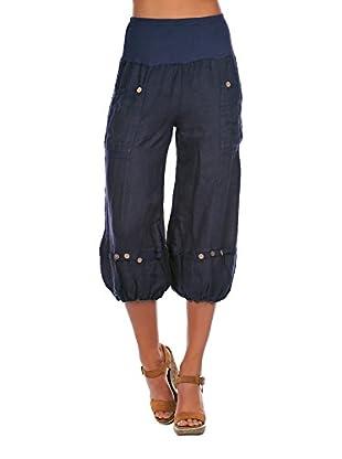 100% Lino Bleu Marine Pantalón Laura