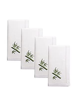 Henry Handwork Set of 4 Bamboo Embroidered Napkins, White