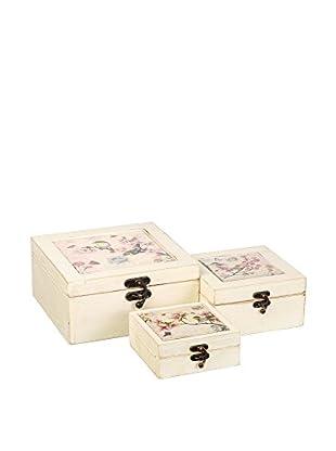 Romantic style Set Caja de Almacenamiento 3 Uds. Birds