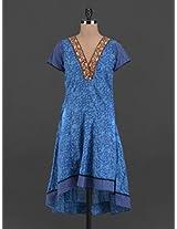 Blue short sleeves cotton kurta