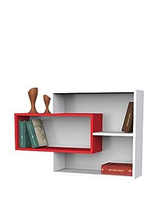 Dekorister Bücherregal Sementha weiß/rot 22x104,1x66,2cm