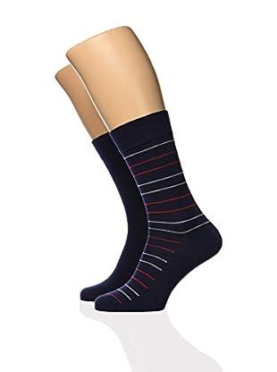 DIM 2tlg. Set Socken schwarz/rot L