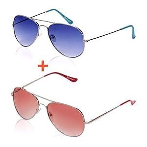 Benour Aviator Sunglasses - Blue & Red