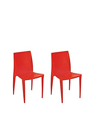 Manhattan Living Set of 2 Square Dining Chairs, Orange
