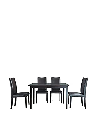Baxton Studio Sweden 5-Piece Dining Set, Light Cappuccino