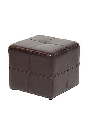 Baxton Studio Nox Brown Leather Ottoman, Dark Brown