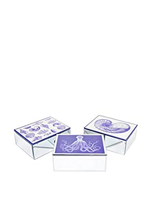 Three Hands Set of 3 Mirrored Wood Boxes