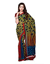 Petra Fab Yellow And Turquoise Colored Dani Georgette Printed Saree - TFLSR7964LNK