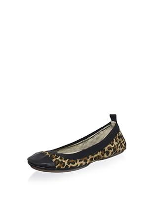 Yosi Samra Women's 2-Tone Elasticized Ballet Flat (Leopard/Black)