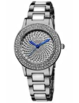 August Steiner Crystal Glitz Silver-Tone And White Ceramic Ladies Watch As8052Ss