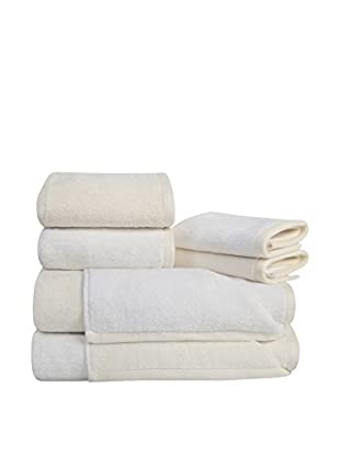 Home Source Reversible 6-Piece Towel Set, White/Ivory