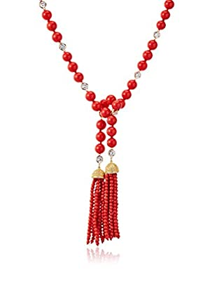 CZ by Kenneth Jay Lariat Style Cogo Red Bead Necklace