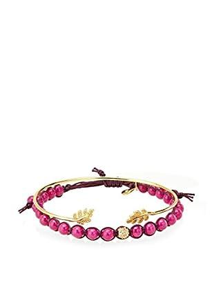 Tai Fuchsia Bead & 18K Gold Plated Feather Two-Piece Bracelet Set