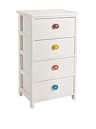 Schubladencontainer 4C Button weiß