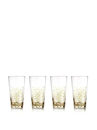 Jay Imports Set of 4 Daphne Gold Luster Highball Glasses, Clear/Gold