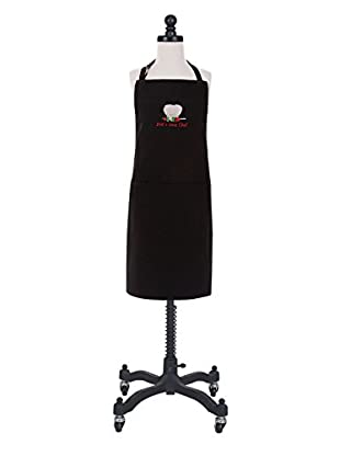 KAF Home Dad's Sous Chef Embroidered Kid Apron, Black