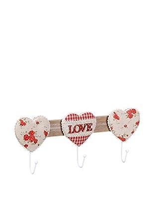 Romantic Style Perchero De Pared Love Rojo / Blanco