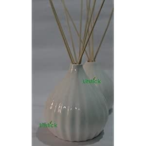Reed Diffuser Set, Ivory striped ceramic Pot with 100ml oil & 8 sticks