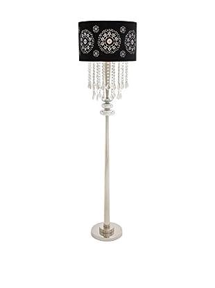 Metal & Glass 1-Light Floor Lamp, Black/Silver
