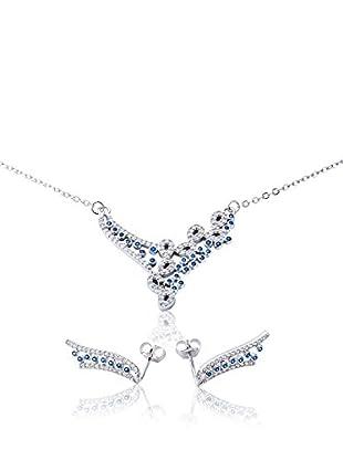 ANA Set Halskette und Ohrringe silber/blau