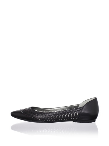 Belle by Sigerson Morrison Women's Valen Flat (Black Leather)