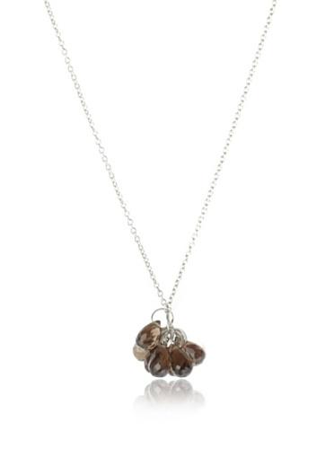 Catherine Angiel Silver & Smokey Topaz Briolette Cluster Necklace
