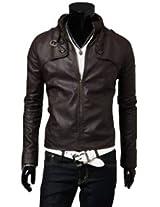 Slim Top Designed Men's Leather Jacket - Black