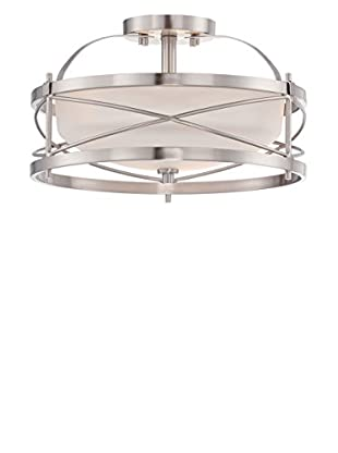 Nuvo Lighting Ginger 2 Light Semi-Flush Fixture, Brushed Nickel/Etched Opal