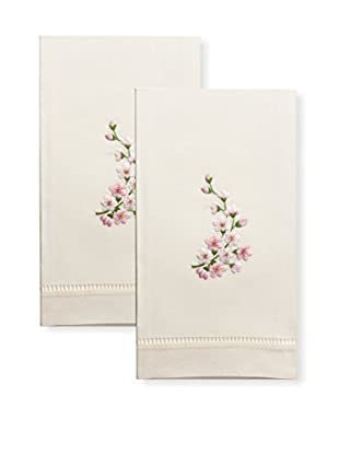 Henry Handwork Set of 2 Pink Orchid Spray Embroidered Hand Towels, Ivory