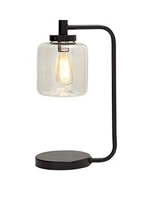 Metal Glass Table Lamp, Black
