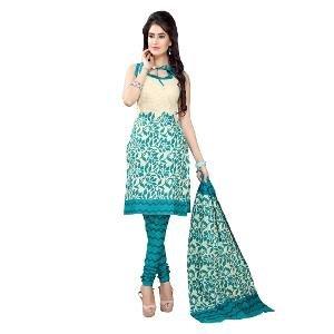 Silk Bazar Unstitched Salwar Suit - Beige & Teal