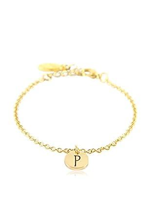 Ettika 18K Gold-Plated P Initial Chain Bracelet