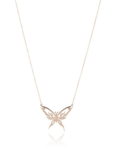 Catherine Angiel Rose Gold Butterfly Pendant Necklace
