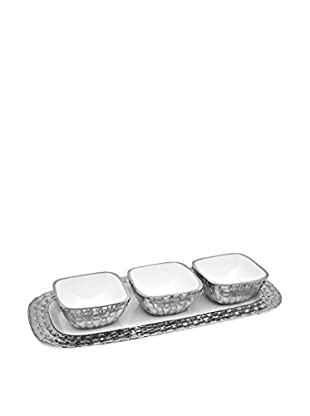 Godinger White Weave 3-Piece Condiment Set