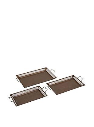 Set of 3 Metal Trays, Bronze