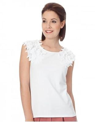 UNQ Top mit Chiffonblüte (Weiß)