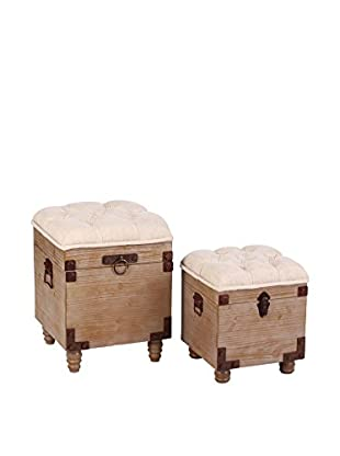 HOME FURNITURE Set Puff Contenedor 2 Uds.