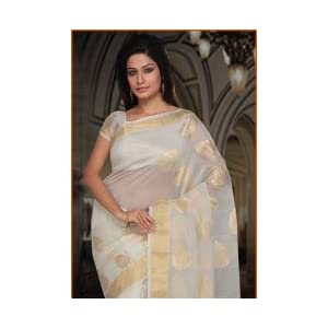 White and Golden Handloom Chanderi Silk Cotton Saree with Blouse