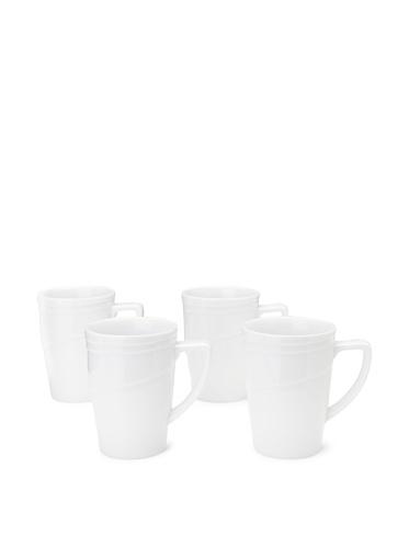 BergHOFF Set Of 4 Hotel Line Coffee Mugs, White, 13-Oz.